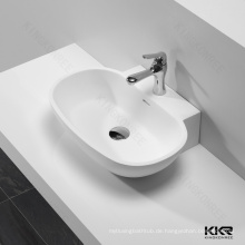Reines weißes Badezimmer-freie stehende Bassins / Toilette-künstliches Steinwaschbecken der öffentlichen Toilette