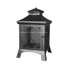 Schwarze Sandfarbe Stahlholz Außenfeuerstelle