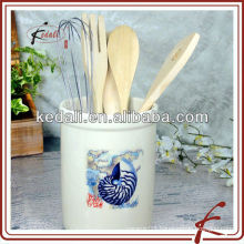 ocean seashell stoneware tool holder