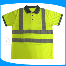 EN ISO 20471 reflective safety POLO shirt with grey color collar