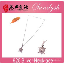 Wholesale Silver Jewelry Sparking CZ Stone Charms Pendant 925 Silver Necklace