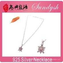 Jóia de prata por atacado Sparking CZ Stone encantos pingente 925 colar de prata