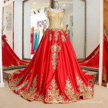 LS01774 Ouro e venda vermelha quente de uma peça vestido de seda decente vestido de festa de aniversário vestido de festa de noite