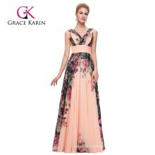Grace Karin Elegant Deep V-Neck Sleeveless Chiffon Long Printed Floral Big Size Women Dress Evening Dress CL7502