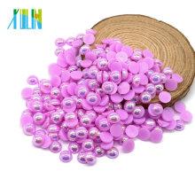Bunte AB Halbe Perlen Dekorative Perlen Perlen in Groß, A11-Lt.purple AB