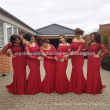 2017 Sexy Long Sleeve Appliqued Lace Mermaid Red Bridesmaid Dresses MB924