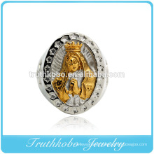 Vacuum plaiting gold stainless steel praying mother finger rings fashion men religion jewelry titanium men casting ring