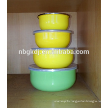 4 sets ice bowl & coating 3 times yellow decal enamel mixing bowl