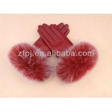2012 gants en cuir nouvelle robe avec fourrure