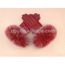 2012 new lady fashion gloves with russian fur
