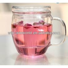 Caneca de vidro de Infuser do chá do presente relativo à promoção feito sob encomenda do logotipo do decalque com tampa