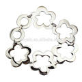 Shiny Silver Flower Link Chain Stainless Steel Bracelet