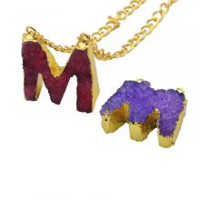 Colorful Crystal Alphabet Letter M Pendant Necklace