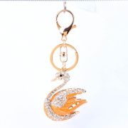 Wholesale 18k Gold Plated Crystal Metal Swan Key Chain,Fashion Yellow enamel Crystal Key Chain, Fashion Jewelry wholesale