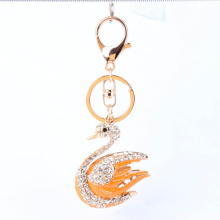 Wholesale 18k Gold Plated Crystal Metal Swan Key Chain,Fashion Yellow enamel Crystal Key Chain, Fashion Jewelry wholesale