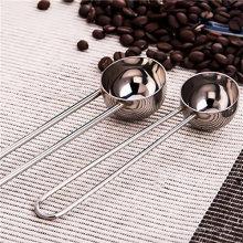 Fio, punho, aço inoxidável, medindo, café, colher