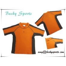 Kinder-Rash Guard Rashguard Sportbekleidung Surfing Wear mit Kontrast Farbe und Flatlock Stitching