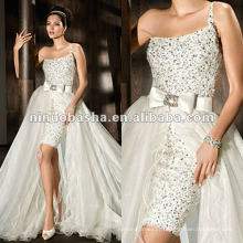 One-shoulder beaded wrap-around tulle train wedding dress