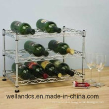 3 Tiers Adjustable Chrome Flat Grape Wine Display Rack /Red Wine Storage Rack