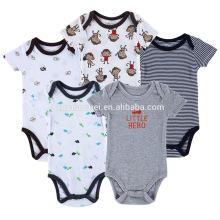 Vente chaude à manches courtes enfants barboteuse définit coton organique bébé garçon vêtements 0-3 mois