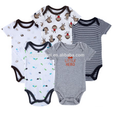 Hot sale short sleeve kids romper sets organic cotton baby boy clothes 0-3 months