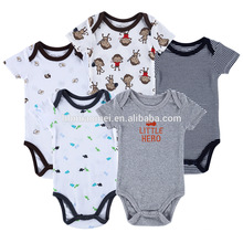 Venda quente manga curta crianças romper conjuntos de algodão orgânico roupas de bebê menino 0-3 meses