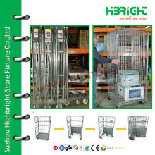 Heavy Duty Wire Mesh Rolling Container für Lager