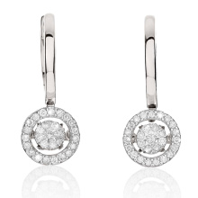 Fashion Dangle Earrings 925 bijoux en argent avec diamant de danse