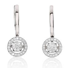 Мода мотаться серьги 925 серебряные ювелирные изделия с танцующим бриллиантом