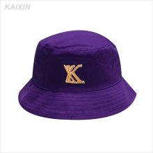 Personalizado promocional curto brim roxo 5 painel bordado alta qualidade balde chapéu
