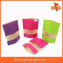 Impressão em cores biodegradável Sacos de papel feitos sob encomenda de Brown Kraft Snacks