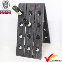 Venta al por mayor rústica de cosecha rústica antigua madera rack de vino con 24 botellas