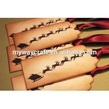 2015 noël renne imprimé papier kraft papier perforateur étiquettes cadeaux