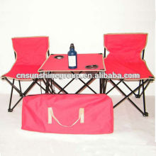 Portable folding table chair set for outdoor camping and picnic