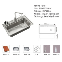 Double Bowl Stainless Steel Sink with Faucet Kitchen Ware Sink