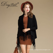 Shawl Collar Long Knitted Cashmere Woolen Lady's Cardigan Sweater
