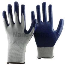 NMSAFETY Gants en nylon blanc de calibre 13 avec gants de travail EN388 4121 en nitrile bleu