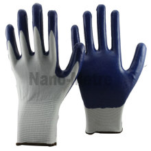 NMSAFETY 13 gauge white nylon gloves with palm coating blue nitrile EN388 4121 work gloves