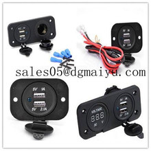 Car Motorcycle Power Port Dual USB Adapter Charger +12V/24V Cigarette Lighter Socket + Digital Voltmeter Outlet for Phone iPod