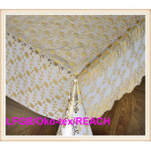 137cm PVC Gold/Silver Lace Tablecloth for Wedding