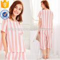 Cute White And Pink Stripe Short Sleeve Summer Pajamas Manufacture Wholesale Fashion Women Apparel (TA0004P)