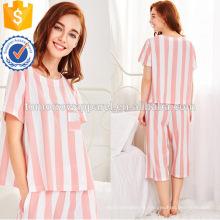 Pyjamas d'été à manches courtes blanc et rose mignon à manches courtes en gros (TA0004P)