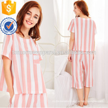 Cute White And Pink Stripe Short Sleeve Summer Pajamas Manufacture Wholesale Fashion Women Apparel (TA0004P)