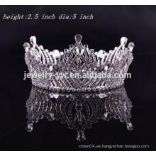 Accesorios del pelo de las muchachas corona redonda completa de la tiara del rhinestone para el ángel