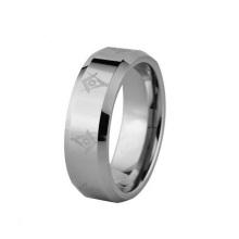 8mm Laser grabado símbolo masónico sólido anillo de compromiso de la boda de carburo de tungsteno