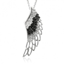 Black White Diamond 925 Silver Angel Wing Pingentes Colar Jóias