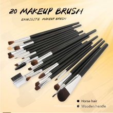 20PCS Horse Hair Wooden Handle Makeup Brushes Sets