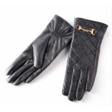 Dame überprüft Muster Schaffell Leder Mode fahren Handschuhe (YKY5212-2)