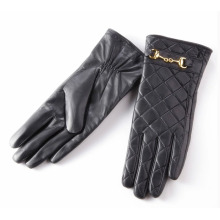 Lady Checked Pattern Sheepskin Leather Fashion Driving Gloves (YKY5212-2)
