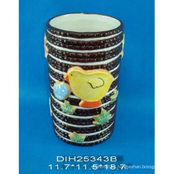 Pintado a mano cerámica ronda flor jarrón
